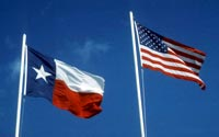 Image of Texas and United States flags